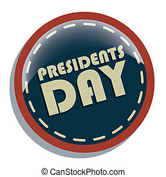 president day - a round blue icon with white text and red...