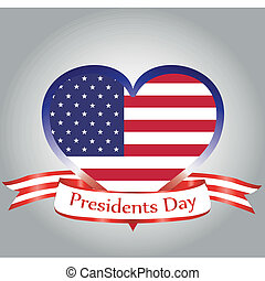 president day - the american flag within a heart and a...
