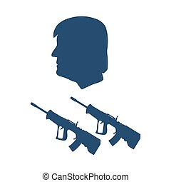 President Donald Trump and rifles. Design for banner and print.