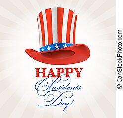 president hat. retro happy presidents day greeting. vector