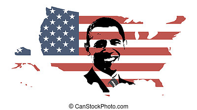 President Obama silhouette over USA map with flag texture