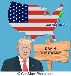 President Trump with a sign Drain the swamp