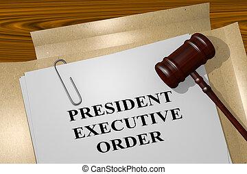 president, uitvoerend, order, concept