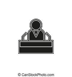 presidente, fala, apartamento, ícone, -, orador público
