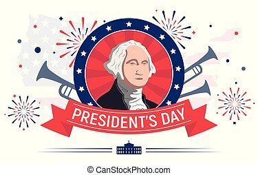 presidenten, vector, illustratie, kleurrijke, dag