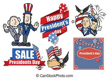 presidentes, norteamericano, vector, conjunto, día