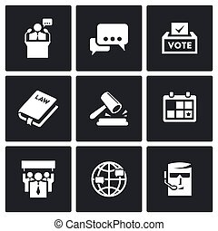 Presidential candidate and elections icons set.