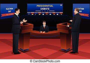 Presidential Debate - A vector illustration of presidential...