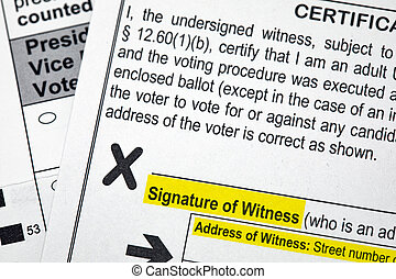 Presidential Election Absentee Ballot Witness Signature