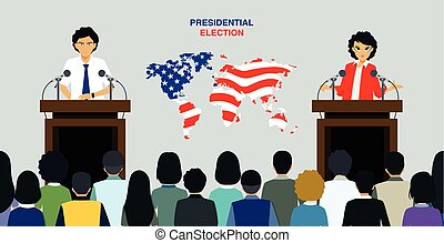 Presidential elections have been public policy with a world map in the background.
