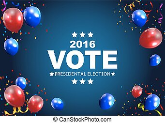 Presidential Election Vote 2016 in USA Background. Can Be Used as Banner or Poster. Vector Illustration