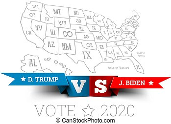 Presidential elections in the United States. Donald Trump vs. Joe Biden with map of America. Vector illustration