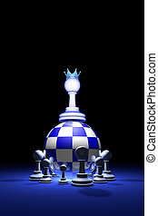 Presidential elections. The new ruler. (chess metaphor). 3D render illustration. Free space for text.