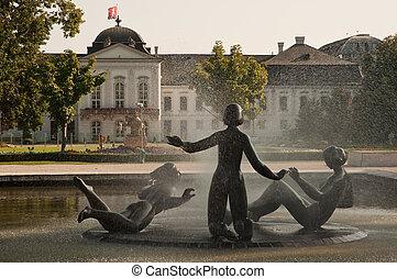 Presidential palace (slovak: Prezidentsky palac) gardens...