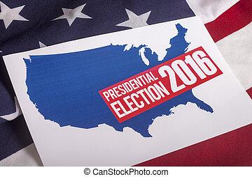 presidentieel, verkiezing, stem, en, amerikaanse vlag