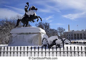 president's, 広場, ジャクソン, clark, 1850, 家, 後で, ワシントン, アンドリュー, キャノン, 雪, dc, lafayette, ミルズ, 像, 白, 公園, 彫刻家