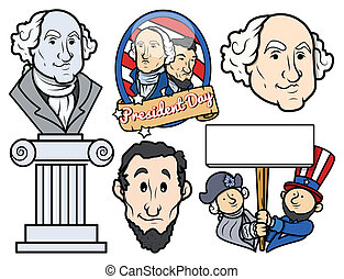 Presidents Day Characters Vectors - USA National Holidays -...