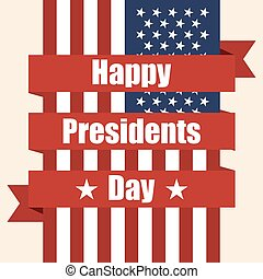 Presidents Day. Flag of USA with ribbon