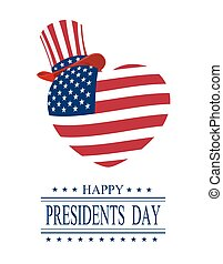 Presidents Day. Greeting card on a white background. Isolated. stylized heart and hat in the colors of the flag. illustration