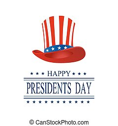 Presidents Day. Greeting card on a white background. The inscription with the wishes of happiness. Isolated. Stylized hat in the colors of the flag. illustration