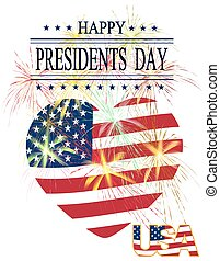 Presidents Day. Greeting card with celebratory fireworks on a white background. Isolated. Greeting inscription. illustration