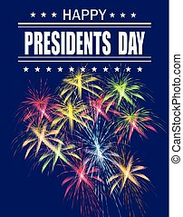 Presidents Day. Greeting card with fireworks on a blue background. Greeting inscription. illustration