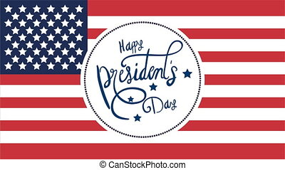 presidents day lettering with usa flag