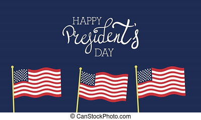 presidents day lettering with usa flags