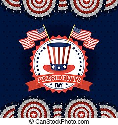 presidents day poster with usa tophat and flags vector...