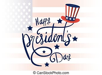 presidents day poster with usa tophat and lettering vector...