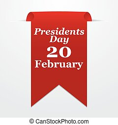 Presidents Day. Red label with date on a gray background