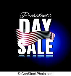 Presidents Day sale. Abstract background with waving ribbon and reflection.