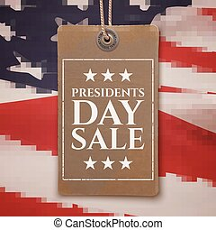 Presidents Day sale background. Vintage, realistic price tag...
