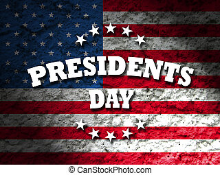 Presidents Day USA card with american flag grunge background