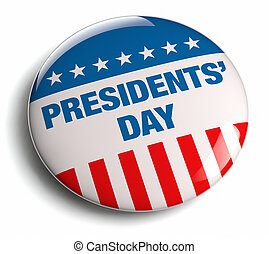 Presidents' Day USA - Presidents' Day American flag badge.