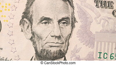 presidents depicted on dollar bills succeed each other, seamless loopable, stop motion animation