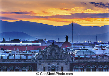 President's Palace Sunrise Zocalo Mexico City