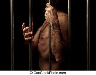 preso, detrás barras