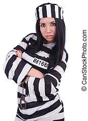 preso, rayado, uniforme blanco
