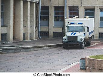 preso, transporte, vehículo, posición, cerca, el, palacio de justicia, en, russia.