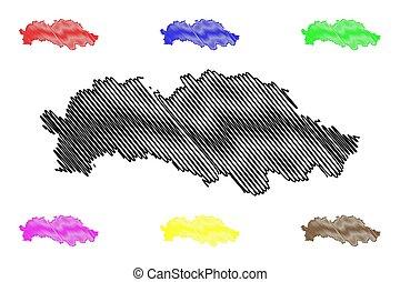 Presov Region (Regions of Slovakia, Slovak Republic) map vector illustration, scribble sketch Presov map