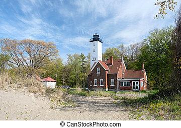 presque, 섬, 등대, 안으로 건축되는, 1872