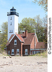 Presque Isle lighthouse, built in 1872, Lake Erie,...