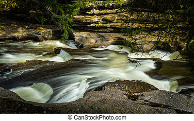 Presque Isle River - The Porcupine Mountains are the largest...