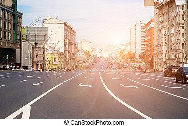 presque, large, rue, vide