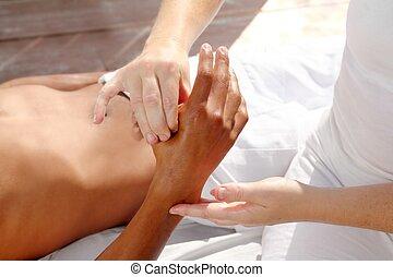 pressão, digital, tuina, reflexology, terapia, mãos, massagem