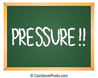 pressão, escrito, chalkboard