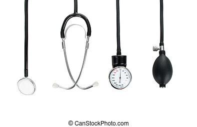 pressão, médico, sangue, medidor