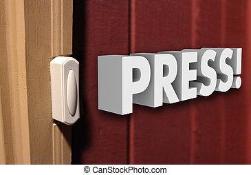 Press 3d Word Doorbell Visitor Guest Arrive
