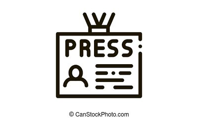 Press Badge Card Icon Animation. black Press Badge Card animated icon on white background